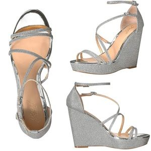 Jewel Badgley Mischka Tatsu silver, wedge sandals